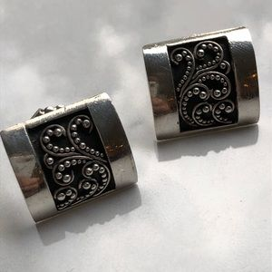 Lois Hill granulated square silver earrings